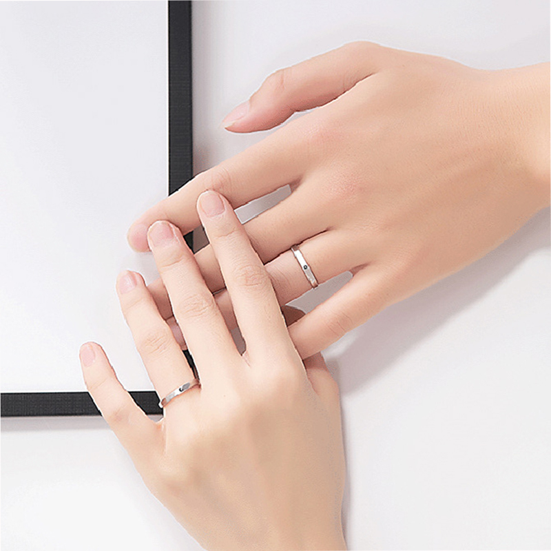 Qevila Fashion Silver color Ring Simple Style Moon Sun Love Adjustable Plate S925 Couple Rings For Girls Boy Best Friend Jewelry (1)