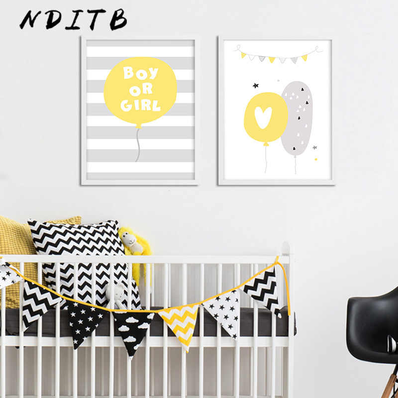 Yellow Elephant Balloon Nursery Wall Art Poster And Print Canvas Painting Nordic Kids Decoration Pictures Baby Bedroom Decor