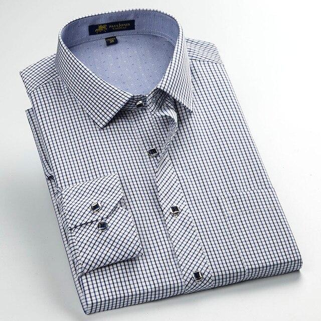 Hombres camiseta Manga Larga Regular fit Contraste Vestido A Cuadros  Pequeños Camisa con Bolsillo Izquierdo Del 78f8e04f1c6
