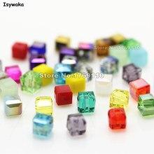 Isywaka 100 pçs cubo 4mm cor misturada quadrado áustria contas de cristal grânulos de vidro solto espaçador grânulo para diy jóias fazendo