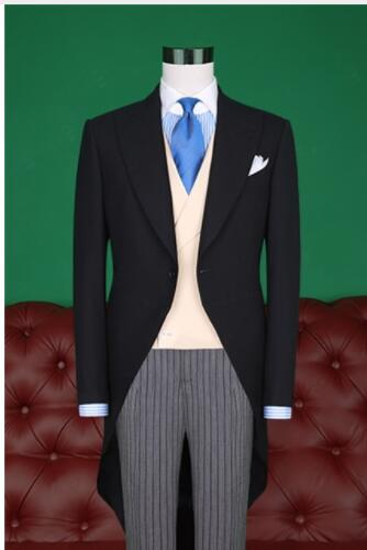 Latest Coat Pant Designs Black Tailcoat Men Suit Groom Wedding Suits Slim Fit 3 Piece Tu ...