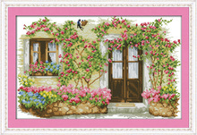 Beatiful Rose cabin Printed Canvas DMC Counted Fabric Chinese Cross Stitch Kits printed Cross-stitch set Embroidery Needlework