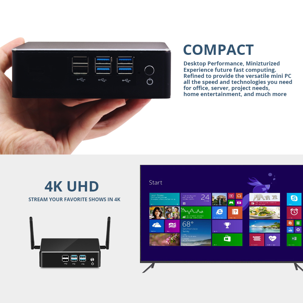 Image 2 - HLY Mini PC Intel Core i7 8550U i5 8250U 4K UHD DDR4 RAM Windows 10 WIFI HDMI 8*usb Quad Core gaming pc i3 i5 i7 Computer-in Mini PC from Computer & Office