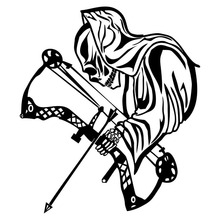15.4*17.7CM Funny Car Stickers Death Bow Hunting Personalized Motorcycle Vinyl Decals Black/Sliver C7-1341