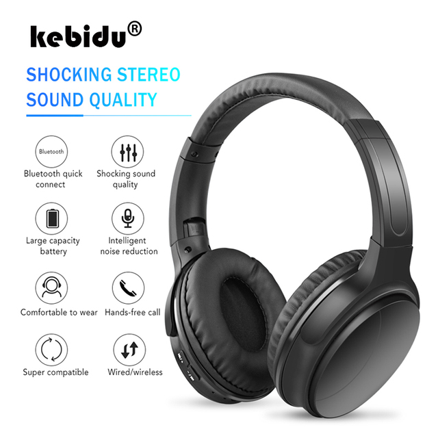 kebidu Wireless Bluetooth Headphone with microphone Bass HiFi Sound studio headset for music and phones support voice control