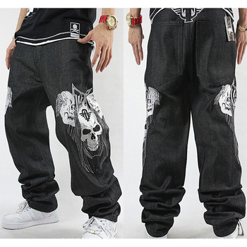 Men's Loose Jeans Skull Embroidery Baggy Jeans Size 30-42