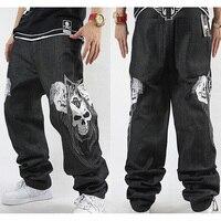 Hommes de Lâche Jeans Crâne Broderie Hip-Hop Rap HIPHOP Planche À Roulettes Pantalon De Danse Baggy Jeans Denim Pantalon Jean Droit Taille 30-42