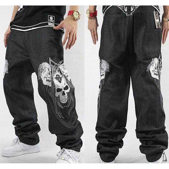 c20ccaca Men's Loose Jeans Skull Embroidery Hip-hop Rap HIPHOP Skateboard Pants  Dance Baggy Jeans Denim Pants Straight Jeans Size 30-42