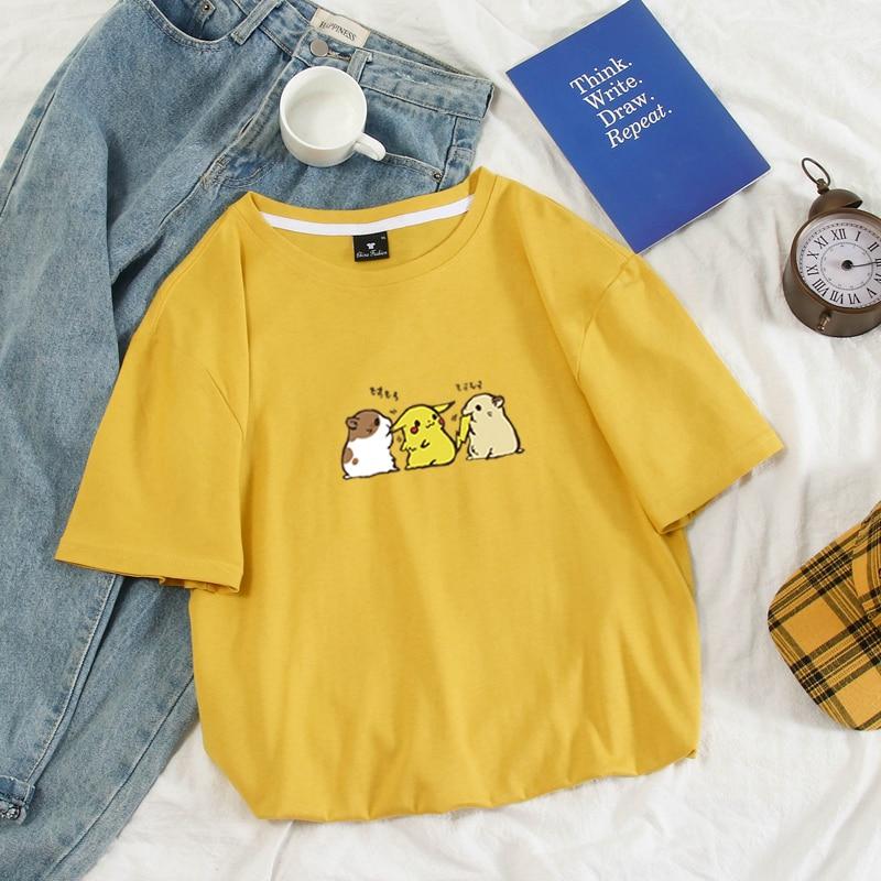 100% Cotton Anime Funny Pokemon Pikachu Hamster print Women/Men Clothes Short Sleeve T-Shirt Hot Sale Casual Summer T Shirt