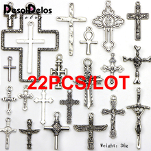 22pcs Mixed Tibetan Silver Plated Peace Hlollow Flower Cross Charms Pendants Jewelry Making DIY Charm Crafts Handmade