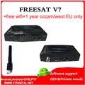 Freesat V7 + wifi gratuito + 1 año cam TV Vía Satélite Receptor Apoyo PowerVu Biss Clave Camd Newca Youtube Youporn USB Decodificador