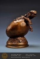 Ogrm Crafts Jurassic Baby Dinosaur Broken Shell Theme Bronze Model Dragon Ball Sculpture Statue