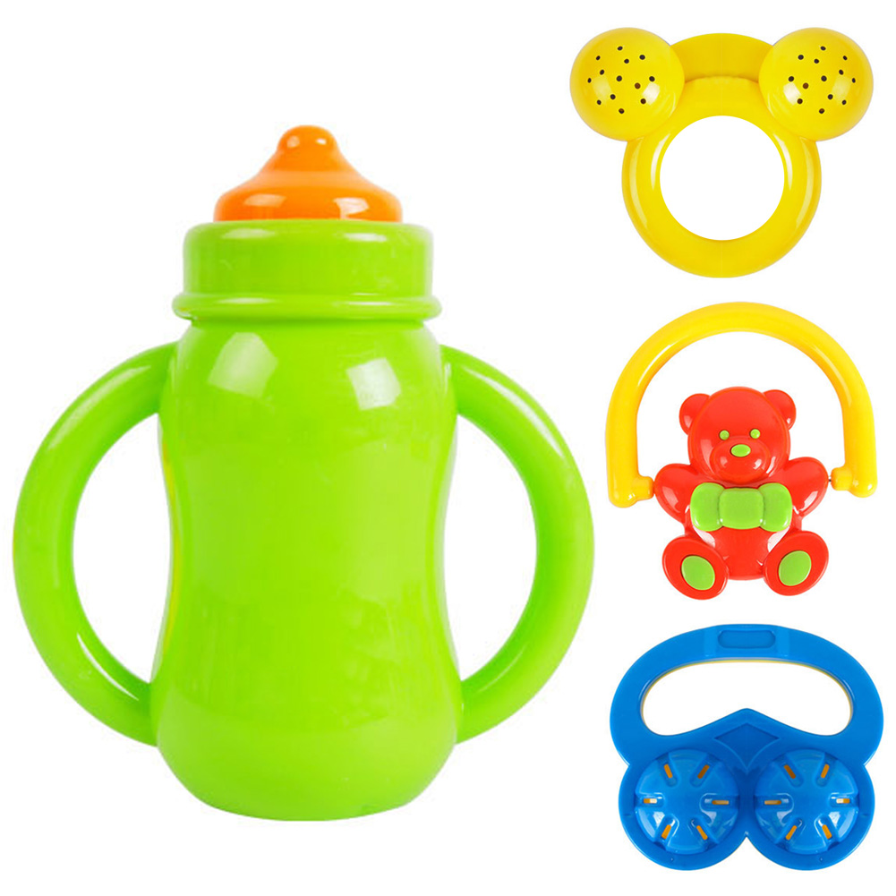 4Pcs/Set Colorful Baby Rattles Grasping Toys Hand Shake Bell Ring Cute Grasp Cartoon Educational Rattle Bell Toys