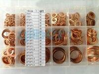 18 Sizes Copper Flat Gasket Sealing Ring Washer Spacer Set