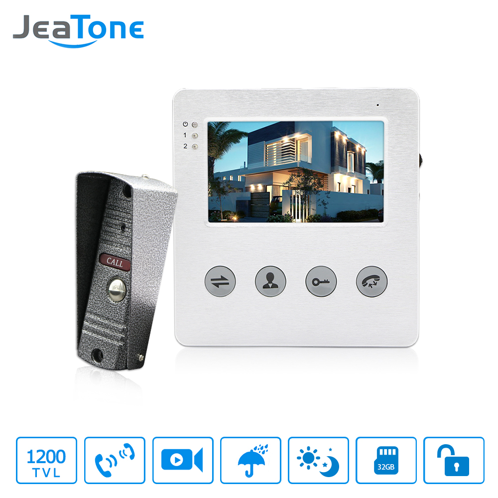 JeaTone 4 Inch Wired Video Door Phone Doorbell Intercom System Kit 1 Camera With 1 Monitor IR Night Vision Access Control jeatone video phone home intercom audio doorbell 3 7mm pinhole cameras with 4 indoor monitor screen wired office intercom