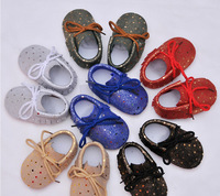Hot Sell Genuine Leather Red Sole Gold Dot First Walkers Baby Moccasins Newborn Kids Boy Girl