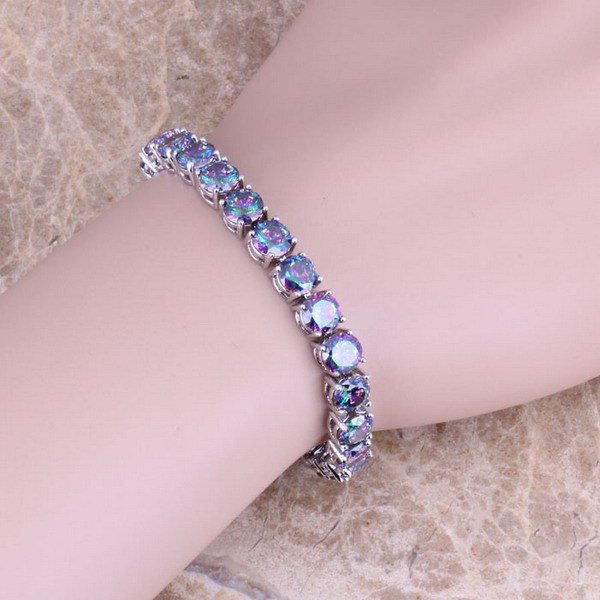 Rainbow Created Topaz 925 Sterling Silver  Link Chain Bracelet 7 inch For Women  S0270