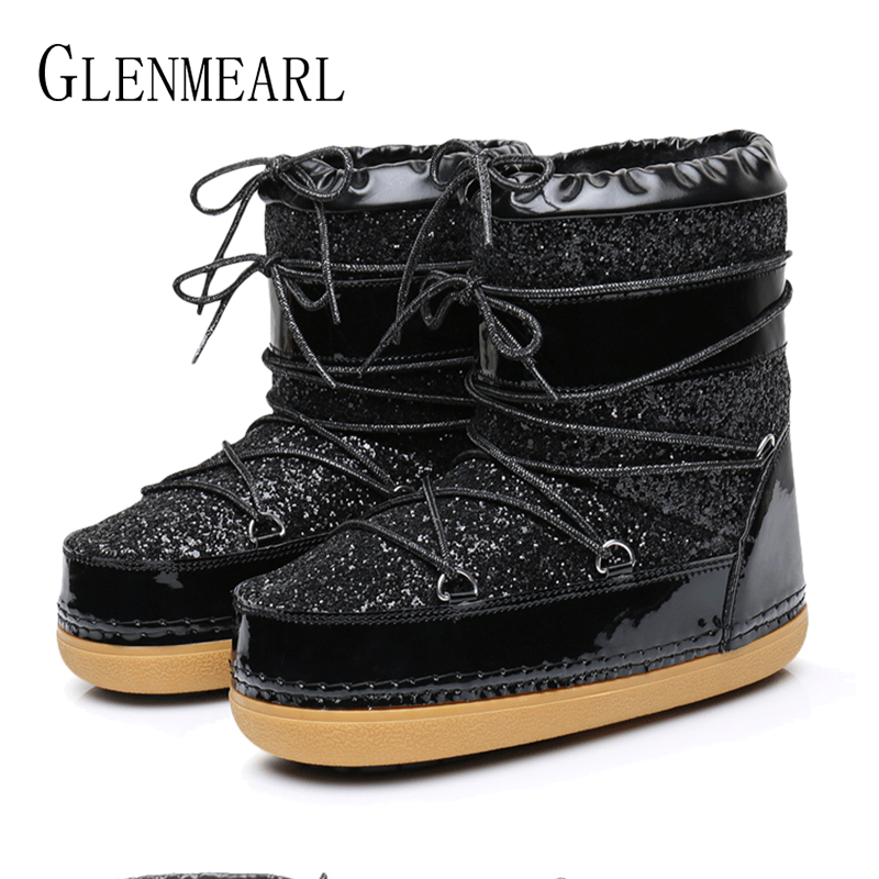 Image 3 - Snow Boots Winter Ankle Boots Women Shoes Fur Warm Boots Female Plus Size Casual Shoes Platform Non Slip Gold Bling Lack Up DE-in Ankle Boots from Shoes