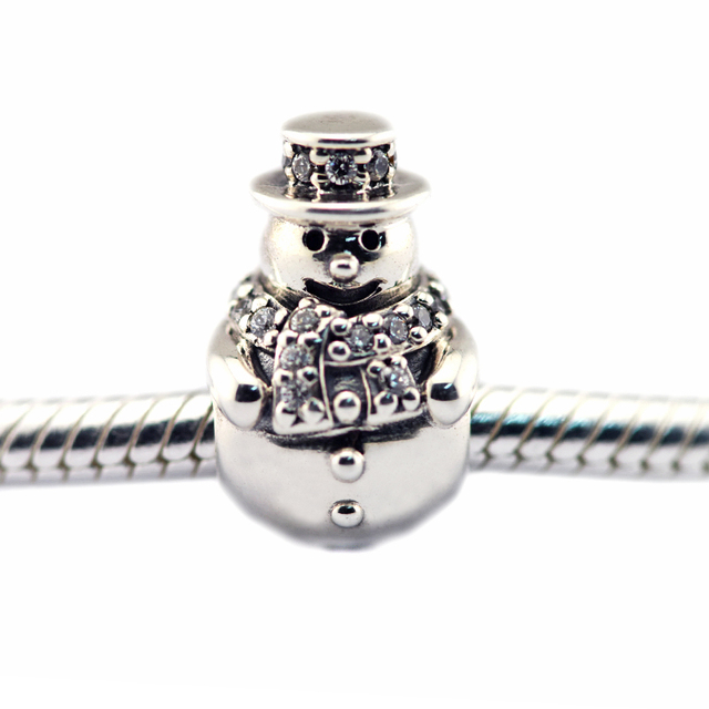 Snowman Clear CZ Beads Fits Pandora Charms Bracelets Original Silver 925 Charm Beads For Jewelry Making 2016 Winter Collection