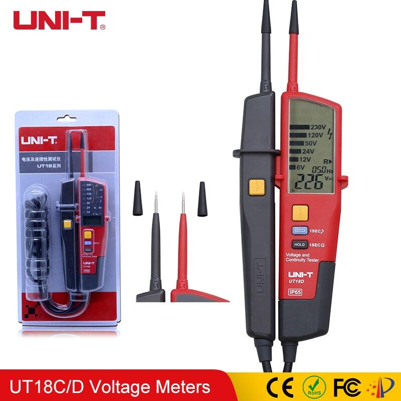 UNI-T UT18C UT18D testeurs de tension et de continuité crayon étanche détection de polarité de Test RCD avec Indication de LED
