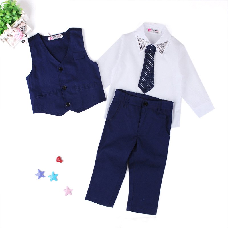 3pcs Boys Suits For Weddings Formal Turn-down Collar Boy Blazer Suit Boys Single Breasted Boys Wedding Clothes Children's Sets single boy