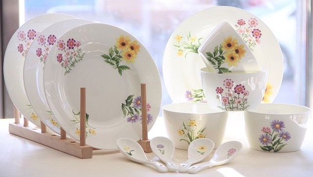 8 Piece Set, Fine Bone China Tableware, Flower Painting, Korean Style,
