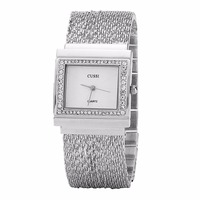 CUSSI 2018 Silver Rectangle Women Watches Luxury Rhinestone Ladies Bracelet Watches Fashion Quartz Wristwatches Relogio Feminino