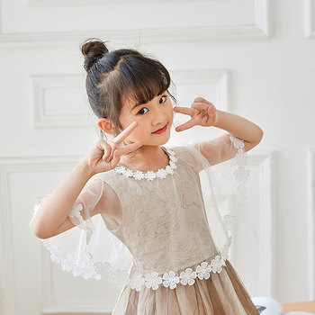 Spring and summer childrens shawl new white red tulle head girl lace outside princess flower child word shoulder