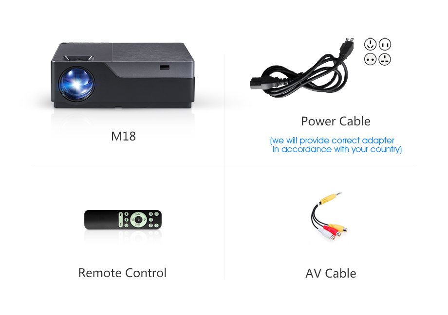 AUN Full HD M18/M18UP 1920x1080P Resolution Mini Projector With WIFI And LED 15