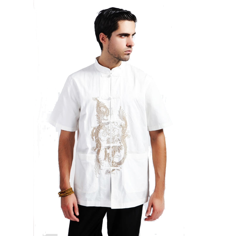 Casual Shirts Shirts Spring Toys White Chinese Mens Cotton Kung Fu Shirt Top Novelty Embroidery Tang Suit Clothing Size S M L Xl Xxl Xxxl