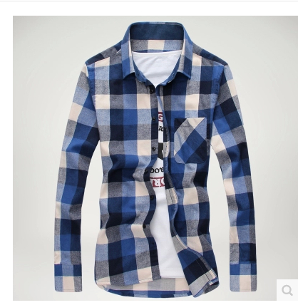 Free Shipping New Men's Shirts,2017 New Fashion Casual Grid long-sleeved mens shirts, men's Casual Shirts size:M-3XL