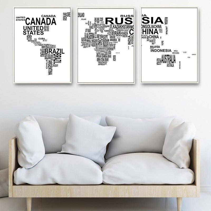 Carta mapa del mundo cartel impresiones de lienzo arte minimalista ...