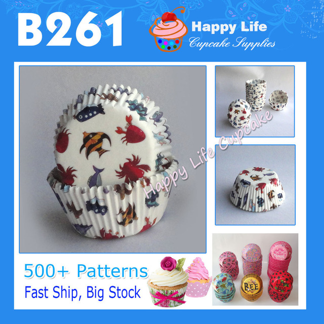 Free Shipping! 200pcs B261 Lovely FISH Design for Party Supplies,Cake Decorating,Cupcake Packaging,Cupcake Liners !