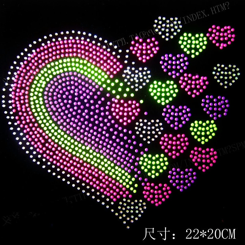 Love heart design hot fix rhinestone motif iron on crystal transfers design rhinestones fix patches for shirt in Rhinestones from Home Garden