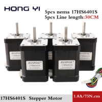 5PCS Nema 17 Stepper Motor 2 Phase 4 lead 73Ncm(92oz.in) 1.8A 60mm Nema17 Step Motor for CNC XYZ 3D Printer Motor
