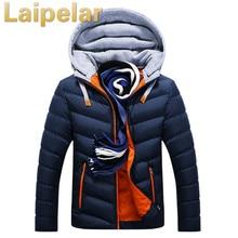 Winter Jacket Men Hat Detachable Warm Coat Cotton-Padded Outwear Mens Coats Jackets Hooded Collar Slim Clothes Thick Parkas цена 2017
