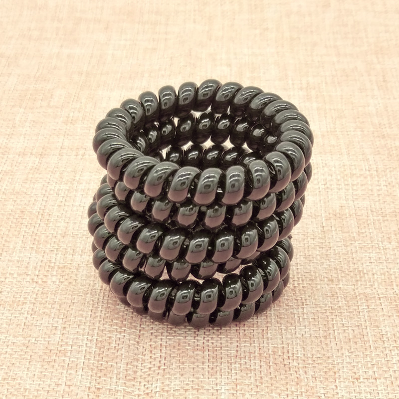 Wholesale 5Pcs Black Telephone Cord Phone Strap Rubber Holders Bands Rope Ties Hair Accessories Size 5 CM