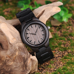 Image 2 - בובו ציפור רטרו אבוני עץ שעונים גברים באיכות גבוהה מותג מעצב זוגות שעון L O08