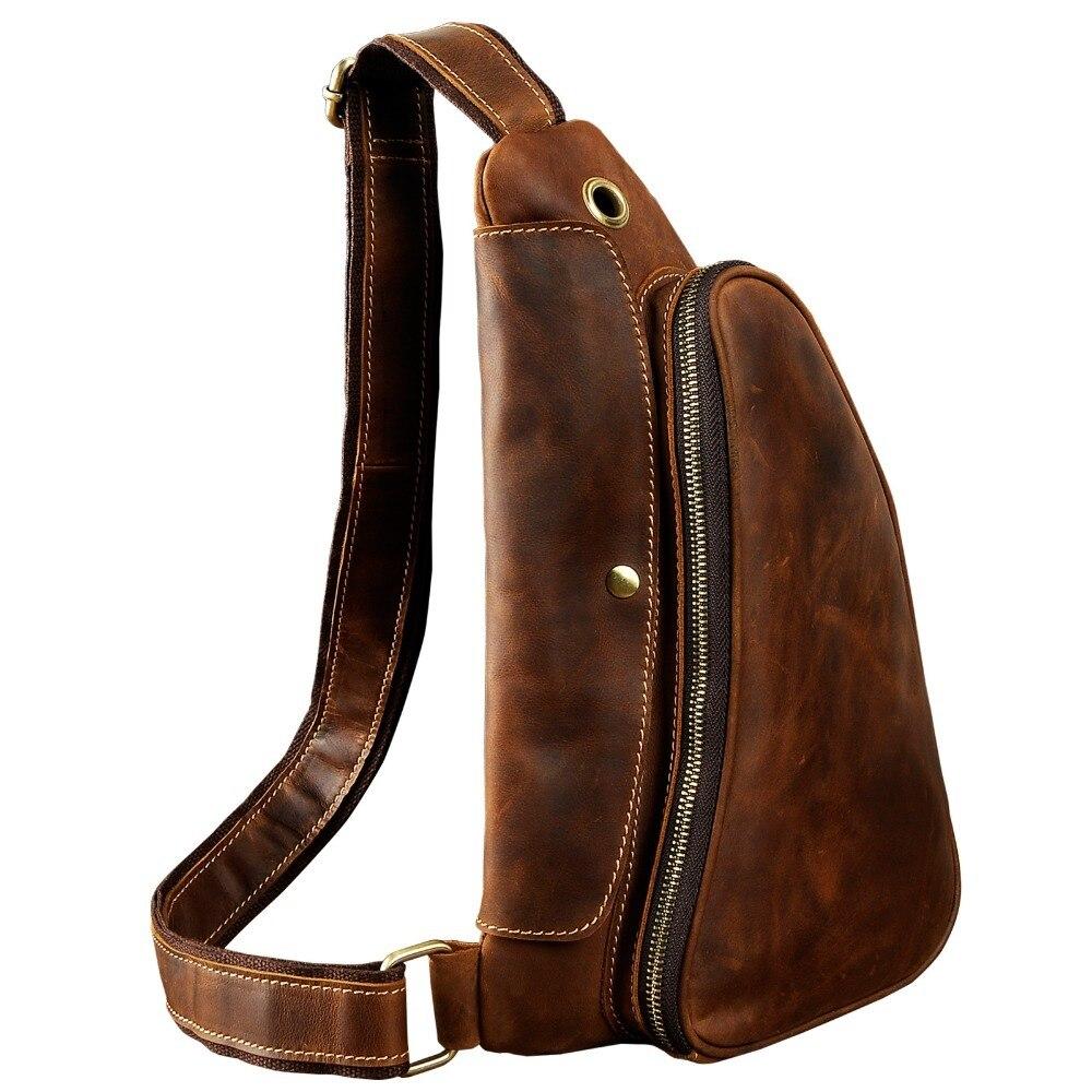 Quality Men Crazy Horse Leather Casual Waist Pack Chest Bag Sling Bag Design One Shoulder Bag Crossbody Bag For Male 9976
