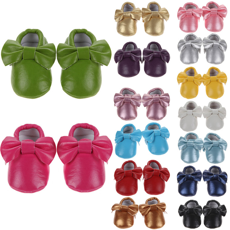 Baby Girl Shoes Bowknot Tassels Infant Kids Baby Girl Cute Shoes Casual PU Moccasins Prewalker Anti-Slip Walkers Bowknots Shoes