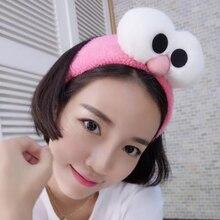 Trendy Cute Big Eyes Cartoon Headband Women Girls Stretch Headwraps Solid Color Hair Accessory Make Up Wash Face Shower Hairband