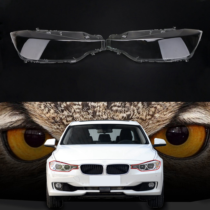 Pair Front Left&Right Transparent Plastic Headlight Head Light Lamp Lens Light Cover For Bmw F30 F31 3 Series 2013-2016