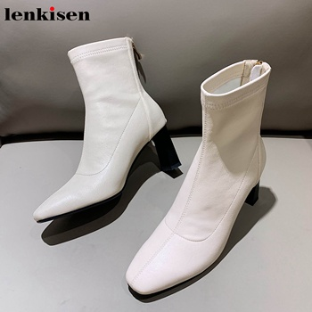 Lenkisen hot popular short tube streetwear high heels square toe fashion mature British winter keep warm stretch ankle boots L04