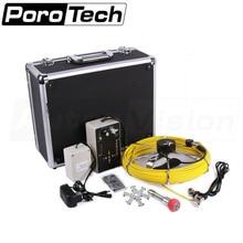 Cámara de endoscopio de tubería de drenaje de pantalla 7D1 de 20M, cable amarillo con caja de aluminio portátil, herramienta de inspección de alcantarillado alimentada por batería