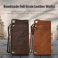 High Quality Handmade Full Grain Vintage Genuine Leather Wallet Case For Universl Smart Phone Leather Phone Pouch For iPhone7/6