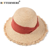 BUTTERMERE Hat Summer Women Red Raffia Straw Sun Hats Ladies Vacation Cap Female Wide Brim Fashion UV Protection