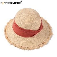 BUTTERMERE Hat Summer Women Red Raffia Straw Sun Hats Ladies Vacation Summer Cap Female Wide Brim Fashion UV Protection Hats
