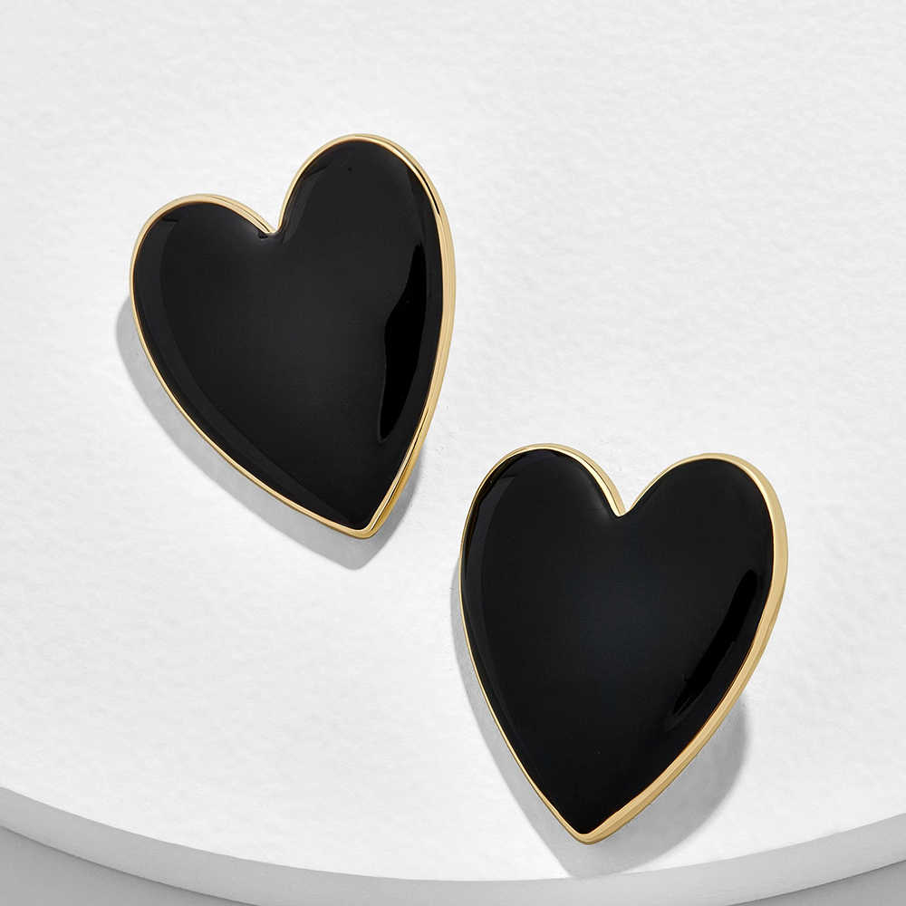 Boho Love Heart Women's Stud Earrings Enamel Black White Charm Heart Earrings for Women Fashion Statement Jewelry Gift Wholesale