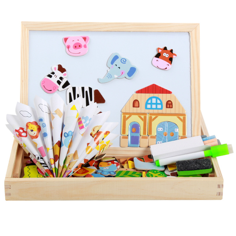 2016 Multifunctional Educational Teaching Magnetic Puzzle Toys DIY For Children Kids Jigsaw Baby's Drawing Easel Wooden Board 2