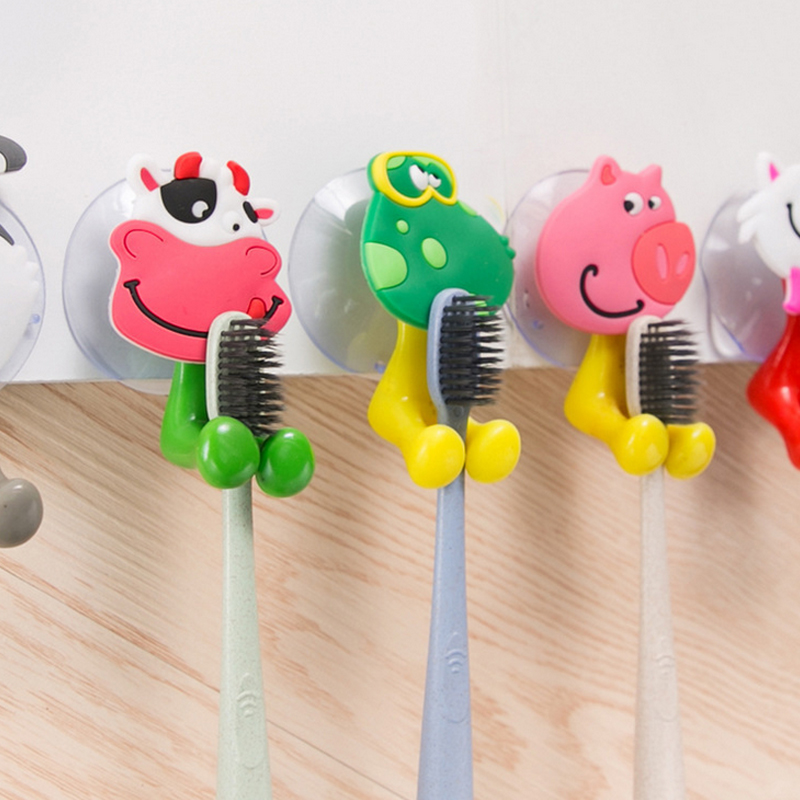 1pcs Fashion household cute Cartoon animals Strong sucker toothbrush holder/suction hooks Toothbrush storage rack Bathroom Sets image